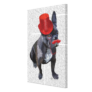 French Bulldog With Red Top Hat and Moustache Canvas Print