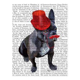 French Bulldog With Red Top Hat and Moustache Postcard