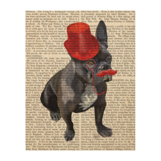 French Bulldog With Red Top Hat and Moustache Wood Print