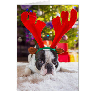 French Bulldog With Reindeer Horns Card