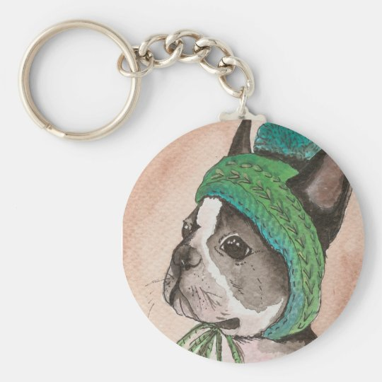 French bulldog with wool cap basic round button key ring