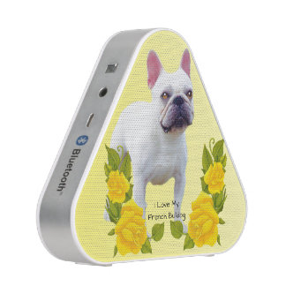French Bulldog with Yellow Roses