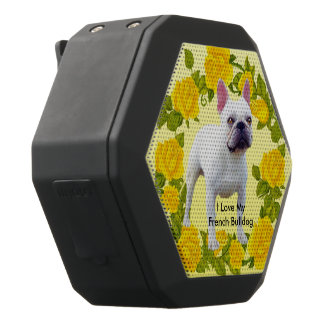 French Bulldog with Yellow Roses Black Bluetooth Speaker