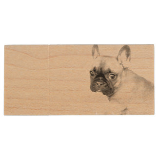 French Bulldog Wood USB 2.0 Flash Drive