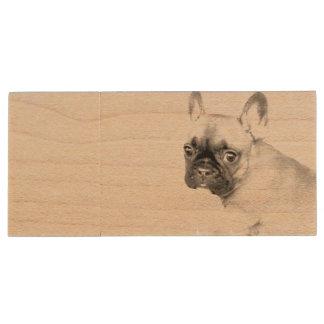 French Bulldog Wood USB Flash Drive
