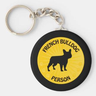 French Bulldog Xing Basic Round Button Key Ring