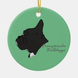 French Bulldogge head silhouette Round Ceramic Decoration