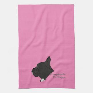 French Bulldogge head silhouette Tea Towel