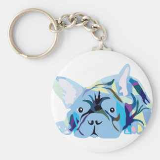 French Bulldogs Basic Round Button Key Ring
