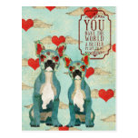 French Bulldogs Heart Valentines Day Postcard