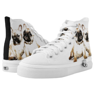 French Bulldogs  high top tennis shoes Printed Shoes