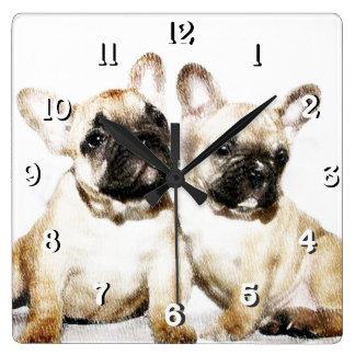 French Bulldogs Square Wall Clock