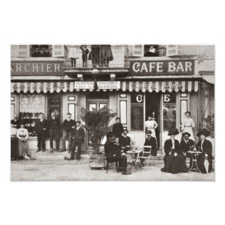 French cafe bar street scene photo print