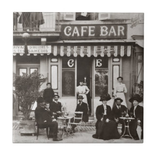 French cafe bar street scene small square tile