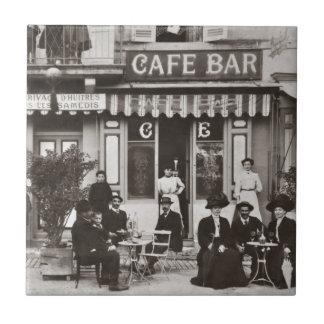 French cafe bar street scene tile