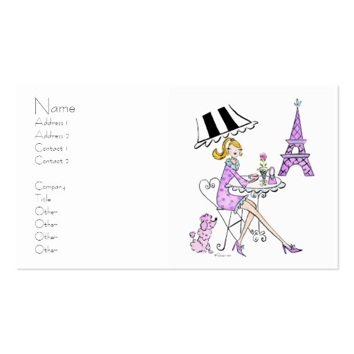 French Cafe Girl Business Cards
