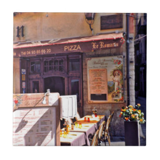 French cafe scene small square tile