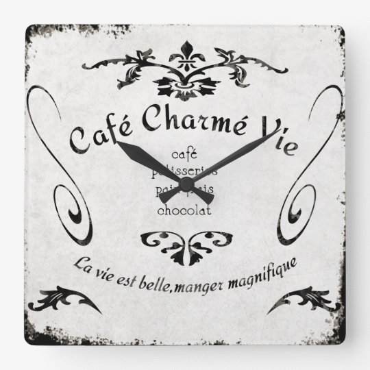 French Cafe Sign Clock