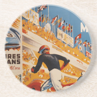 french car race vintage - 24h du Mans Beverage Coaster