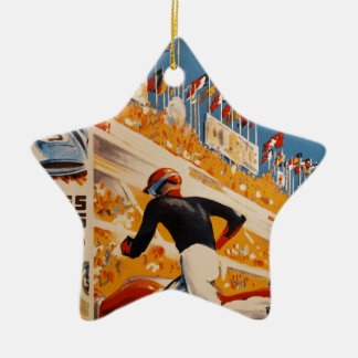 french car race vintage - 24h du Mans Ceramic Star Decoration