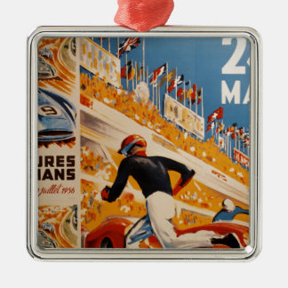 french car race vintage - 24h du Mans Silver-Colored Square Decoration