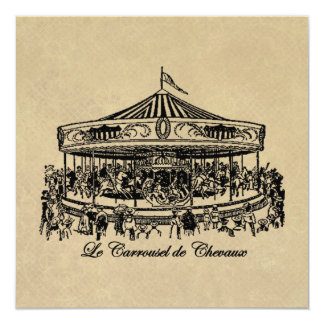 French Carousel Horses Apparel and Gifts Card