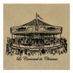 French Carousel Horses Apparel and Gifts Poster