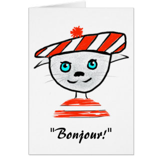 French Cat Birthday Card