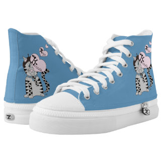French Cat Kisses & Hugs Blue High Printed Shoes