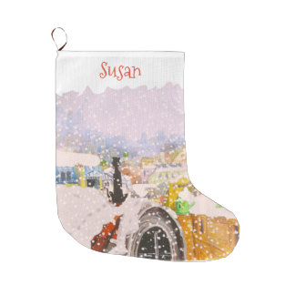 FRENCH CAT MONOGRAM by Slipperywindow Large Christmas Stocking