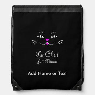 French Cat Says Miaou Cute Cartoon Cat Face Drawstring Bag