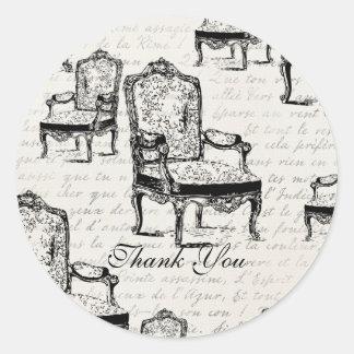 French Chair Round Sticker
