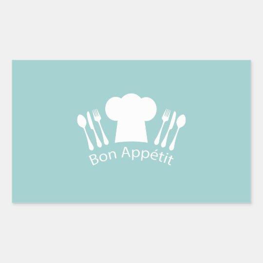 French Chef Bon Appetit Restaurant or Kitchen Rectangular Sticker