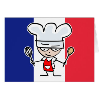 French Chef Greeting card design with flag