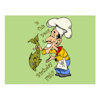French Chef ~ Is This Your Birthday Fish? Postcard