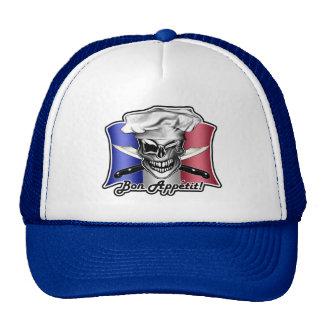 French Chef Skull Hat: Bon Appetit! Mesh Hats