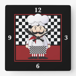 French Chef Square Wall Clock