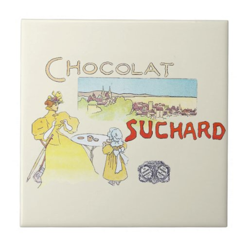 French Chocolate Vintage Candy Advertising Ceramic Tiles