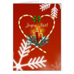French Christmas - candy cane, candles, pine, cone Greeting Card
