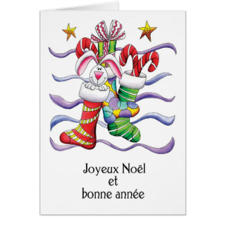 French - Christmas Stocking With Rabbit And Gifts Greeting Card