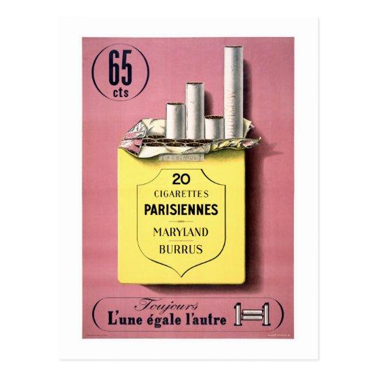 French Cigarettes Vintage Poster Restored Postcard