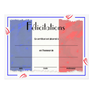 French Class Certificate of Acheivement 21.5 Cm X 28 Cm Flyer