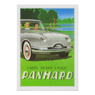 French classic car ad painting Panhard Poster