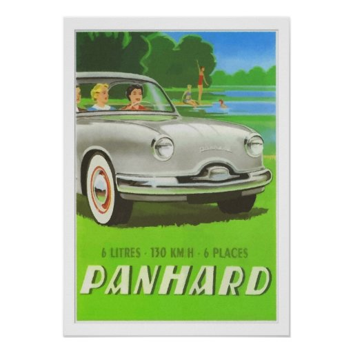 French classic car ad painting Panhard Posters
