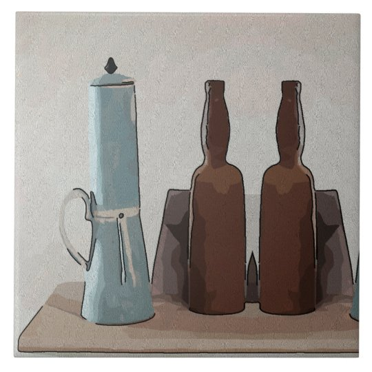 French Coffee and Bottles  Abstract Large Square Tile