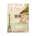French Collage Stretched Canvas Print
