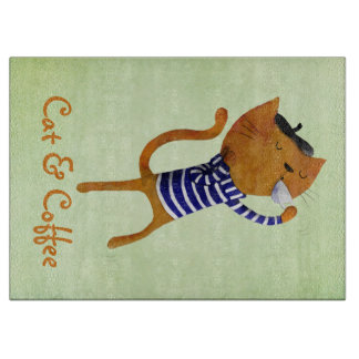 French Cool Cat Cutting Board
