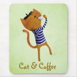 French Cool Cat Mouse Pad