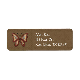 French Country Autumn Butterfly Return Address Label