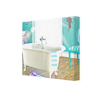French Country Bath Watercolor Canvas Art Print